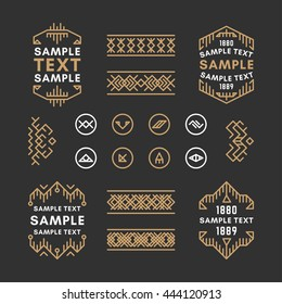Set of Four Line Art Decorative Geometric Vector Frames and Borders with Golden and Black Colors. Vector Ornaments, Vector Decoration, Line Ornament, Vector Logos, Vector Labels
