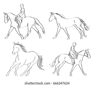 Set of four line art vector action horses and English riders illustrations