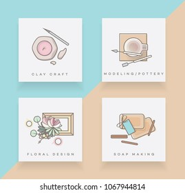 Set of four line icons depicting clay craft, modeling pottery, floral design and soap making