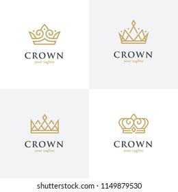 Set of four linear crown icons. Royal, luxury symbol. King, queen abstract geometric logo.