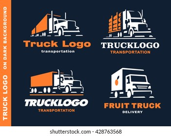 Set of four logos with truck and trailer