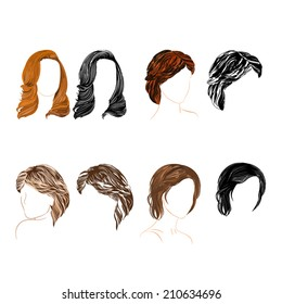 Set of four long  hair natural and silhouette Vector Illustration