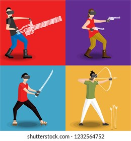 Set of four men gaming in virtual reality glasses with virtual minigun, revolver, bow and katana. in flat cartoon style.