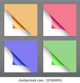 Set of four metallic realistic 3d paper corner swirls