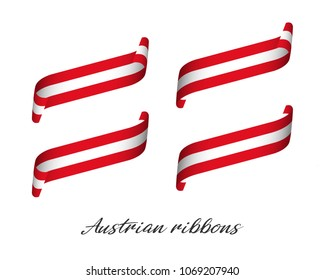 Set of four modern colored vector ribbons in Austrian colors isolated on white background, flag of Austria, Austrian ribbons