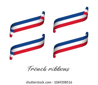 Set of four modern colored vector ribbons with French tricolor isolated on white background, flag of France, French ribbons
