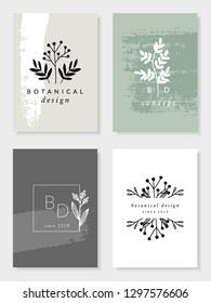 A set of four modern and elegant botanical card designs in pastel green, beige, gray and white. Minimalist nature inspired vector illustration. Perfect for packaging, branding, weddings and home decor