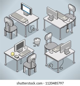 Set of four modern office desks with monitor, keyboard and mouse (vector cartoon in isometric view)
