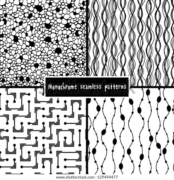 Set of four monochrome geometrical patterns. EPS 8 vector illustration.
