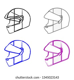 Set of four motorcycle helmets with color variations