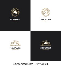 Set of four mountain logo in golden color on black and white backgrounds. Winter sport, travel, tourism, adventure symbol, icon.