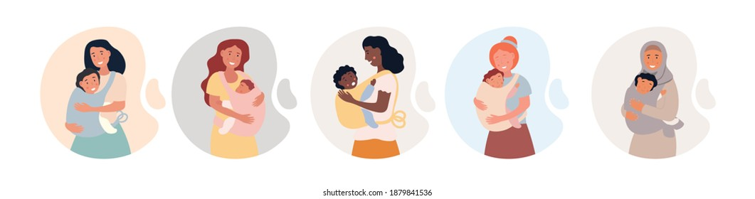 Set of four multircial ladies carrying their kids. Newborn baby child in Sling feeling protection from his mother. Happy Mothers Day. Flat cartoon vector illustration isolated on white background.