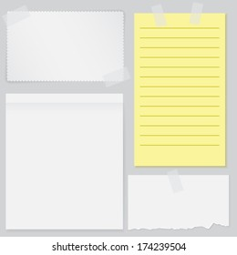 Set of four notes papers with scotch tape