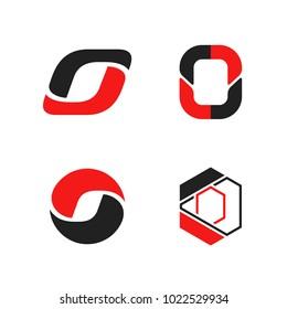 Set of four O letter logos. Isolated on white background. Vector illustration, eps 10.