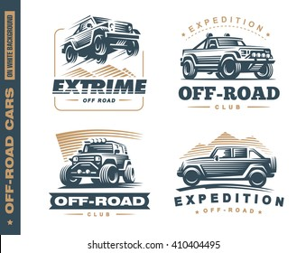Set of four off-road suv car monochrome labels, emblems, badges or logos isolated on white background. Off-roading trip, 4x4 extreme club