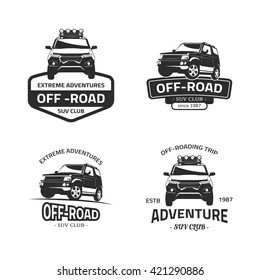 Set of four off-road suv car black logos. Suv car isolated on white background. SUV front and side view vector black icon with off-road, suv club, off-roading trip, extreme adventure text.