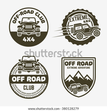 Set Four Offroad Suv Car 4 X 4 Stock Vector Royalty Free 380128279