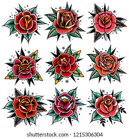 set of four old school tattoo red roses with leaves on a white background