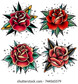 set of four oldschool tattoo roses on a white background