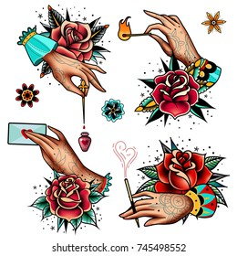 set of four oldschool tattoo roses and hands on a white background