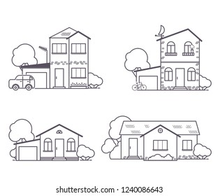 set of four one-storey and two-story houses with a garage  in a linear style on a white background