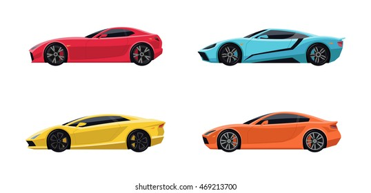 Set of four original Super Sports Cars in side view.  Flat style.