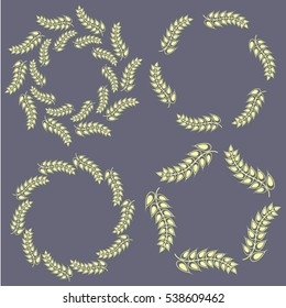 Set of four ornament frames made by wheat spikes