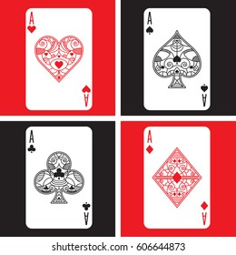 A set of four ornate aces in vector format. This collection includes the highest heart, spade, club and diamond in a deck of playing cards.