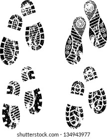 Set of four pairs of shoes print. eps10
