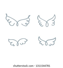 Set of four pairs of wings drawn by vector free line. Drawn by hand, sketch, doodle. Cute vector illustration.