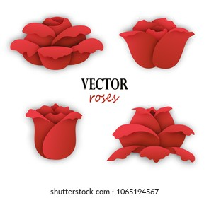 Set of four paper red roses. Side view of bloom. Floral elements for design. Vector illustration isolated on white background