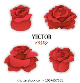 Set of four paper red roses