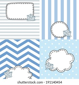 set of four patterned cards with empty text bubbles and cartoon paper ship, childish tag design