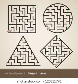 Set of four perfect maze