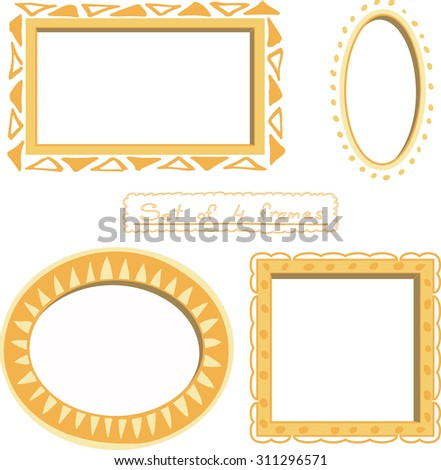 Set Four Picture Frames Square Oval Stock Vector Royalty Free