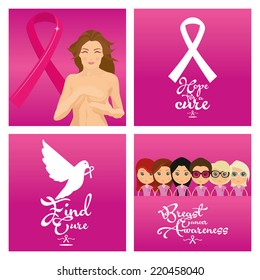 a set of four pink backgrounds with symbols or women