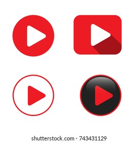 Set of Four Play Video Buttons Vector