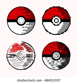 Set of four pokeballs drawn in different techniques. Pokeball vector illustration in flat art, hand drawn, low polygon and pixel art style. Pokemon container.