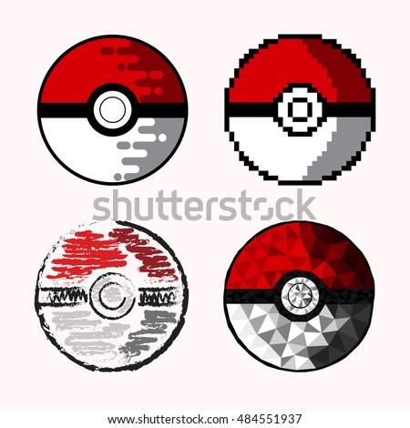 Set Four Pokeballs Drawn Different Techniques Stock Vektorgrafik