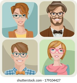 Set of four portraits of hipsters, two men and two women