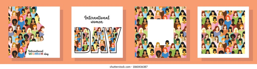 set of four postcards on the theme of international women's day. postcards with inscriptions, frame with space for text, background. the flat pattern. stock vector illustration. EPS 10. - Shutterstock ID 1860436387