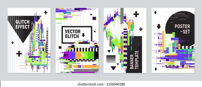 Set of four posters with glitch effect imitating defects of signal on monitor screen flat vector illustration