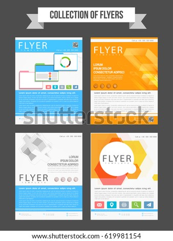 set four professional flyers templates design stock vector royalty