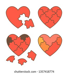 Set of four puzzle heart icons. Vector illustration.