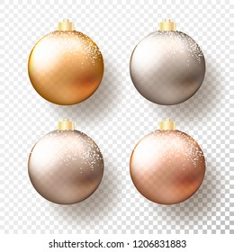 Set of Four realistic Christmas or New Year transparent Baubles, spheres or balls in different shades of metallic gold and silver color with golden caps, snow and shadow. Vector illustration eps10