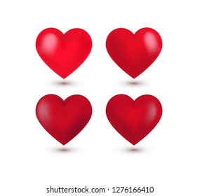 Set of four realistic red Valentine Hearts, shadow. Vector illustration. Simbol of love, sign. Decorative element for greeting card, poster, print,