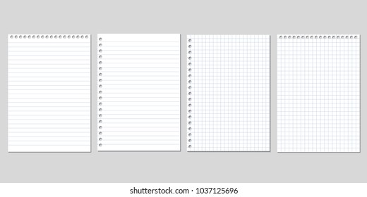Set of four realistic vector illustration of blank sheets of square and lined paper from a block isolated on a gray background with shadows