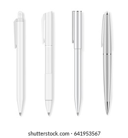 Set of four realistic writing pens. Grey and white, plastic and metallic ballpans. Detailed graphic design element. Office supply, school stationery. Isolated on white background. Vector illustration