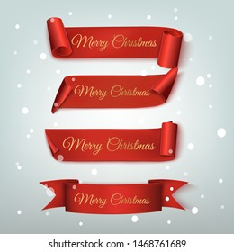 Set of four red, Merry Christmas and Happy New Year, realistic banners. Vector illustration