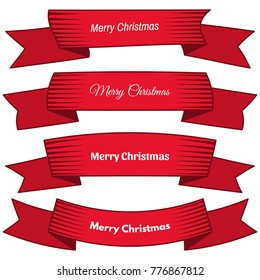 Set of four red ribbons and banners with an inscription Merry Christmas. Great design element isolated on white background. Vector illustration.